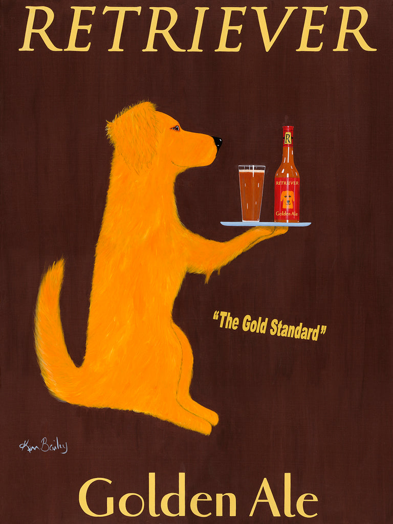 RETRIEVER GOLDEN ALE - Retro Vintage Advertising Art featuring a Golden Retriever by Ken Bailey