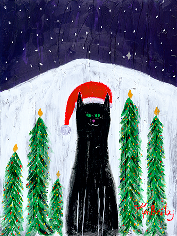 SANTA CAT Whimsical Art featuring a cat in a Santa hat by Ken Bailey