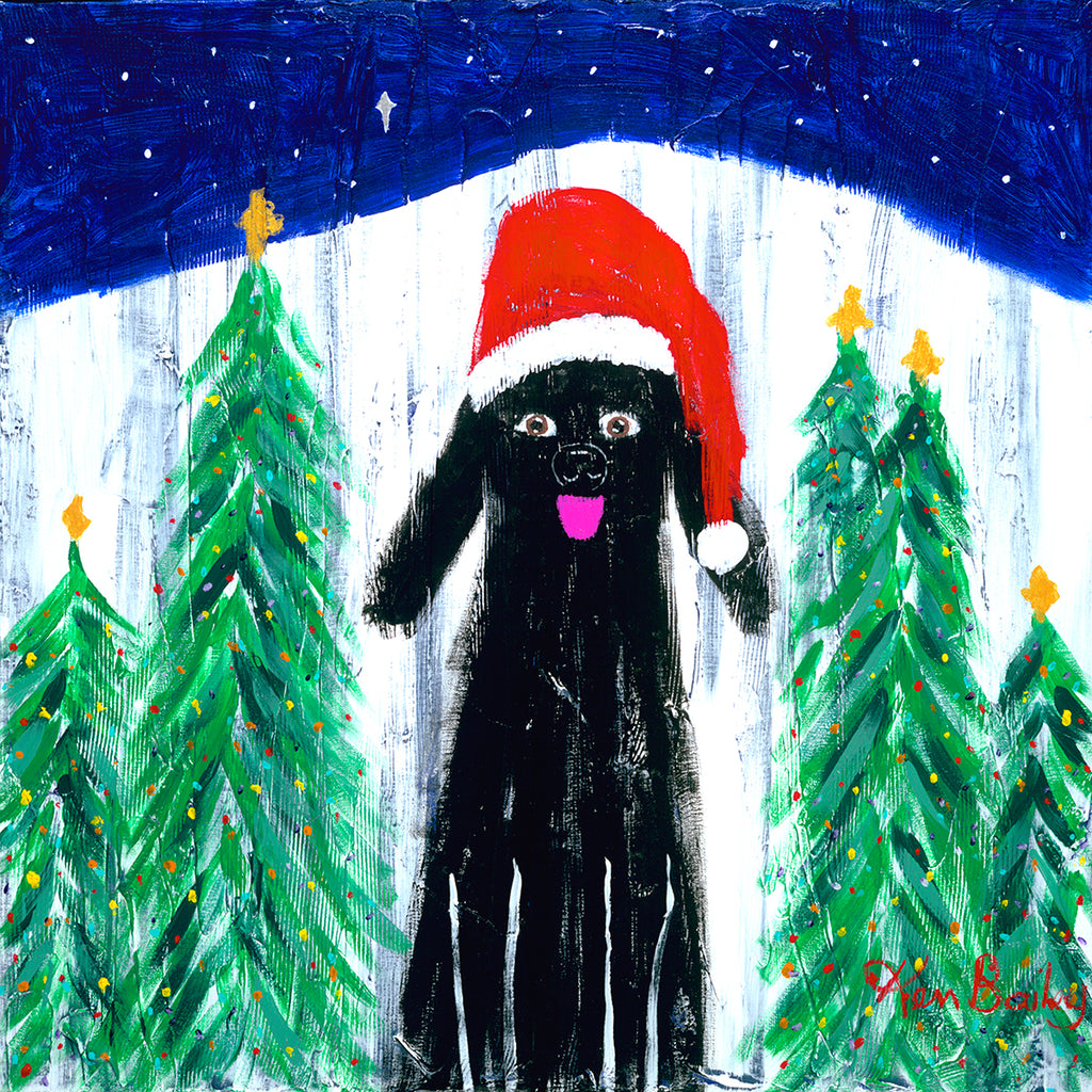 SANTA DOG - Whimsical Art featuring a black dog in a Santa hat by Ken Bailey