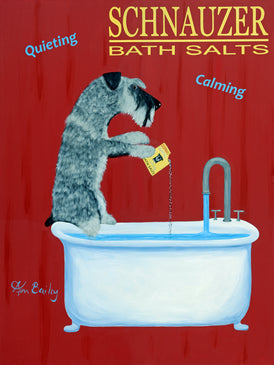CUSTOM SCHNAUZER BATH SALTS -- Retro Vintage Advertising Art featuring a Schnauzer by Ken Bailey