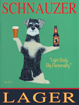 CUSTOM SCHNAUZER LAGER -- Retro Vintage Advertising Art featuring a Schnauzer by Ken Bailey
