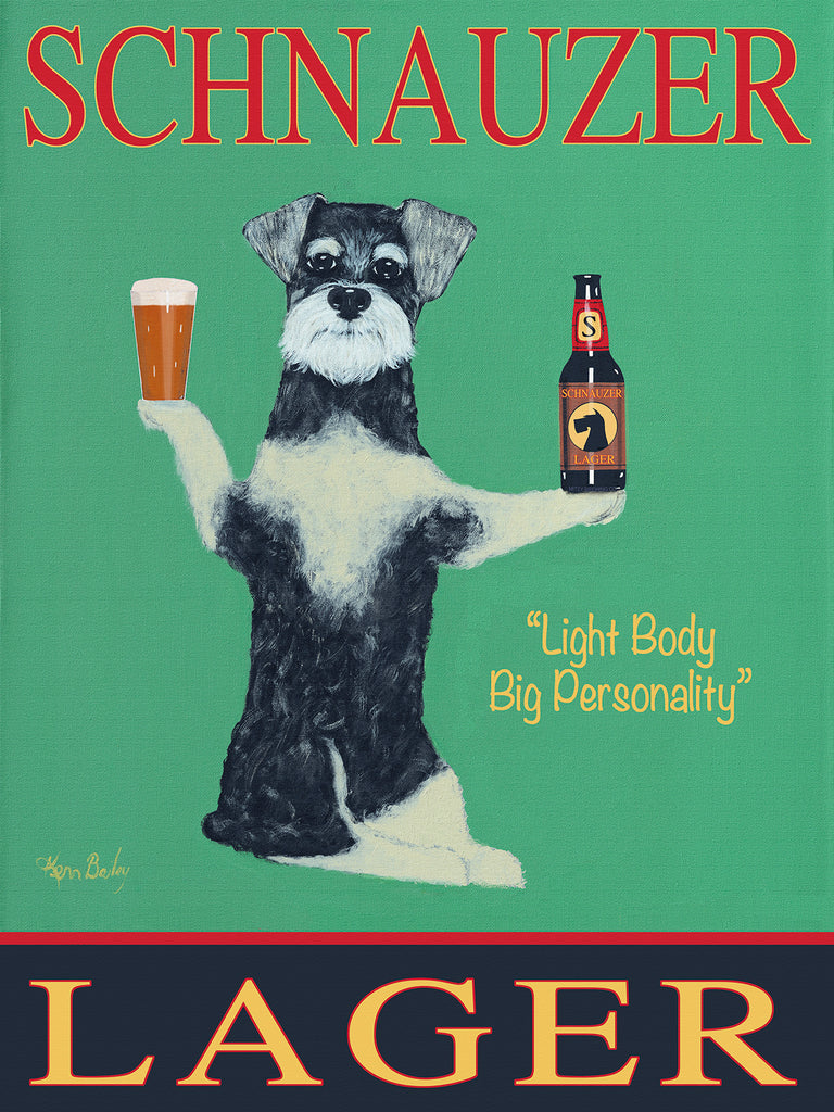 SCHNAUZER LAGER - Retro Vintage Advertising Art featuring a Schnauzer by Ken Bailey