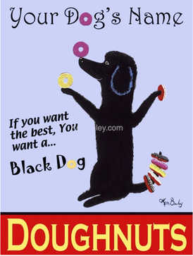 CUSTOM BLACK DOG DOUGHNUTS - Retro Vintage Advertising Art featuring a Poodle by Ken Bailey
