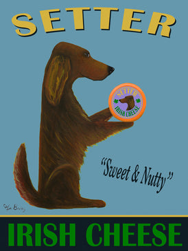 CUSTOM SETTER IRISH CHEESE -- Retro Vintage Advertising Art featuring an Irish Setter by Ken Bailey