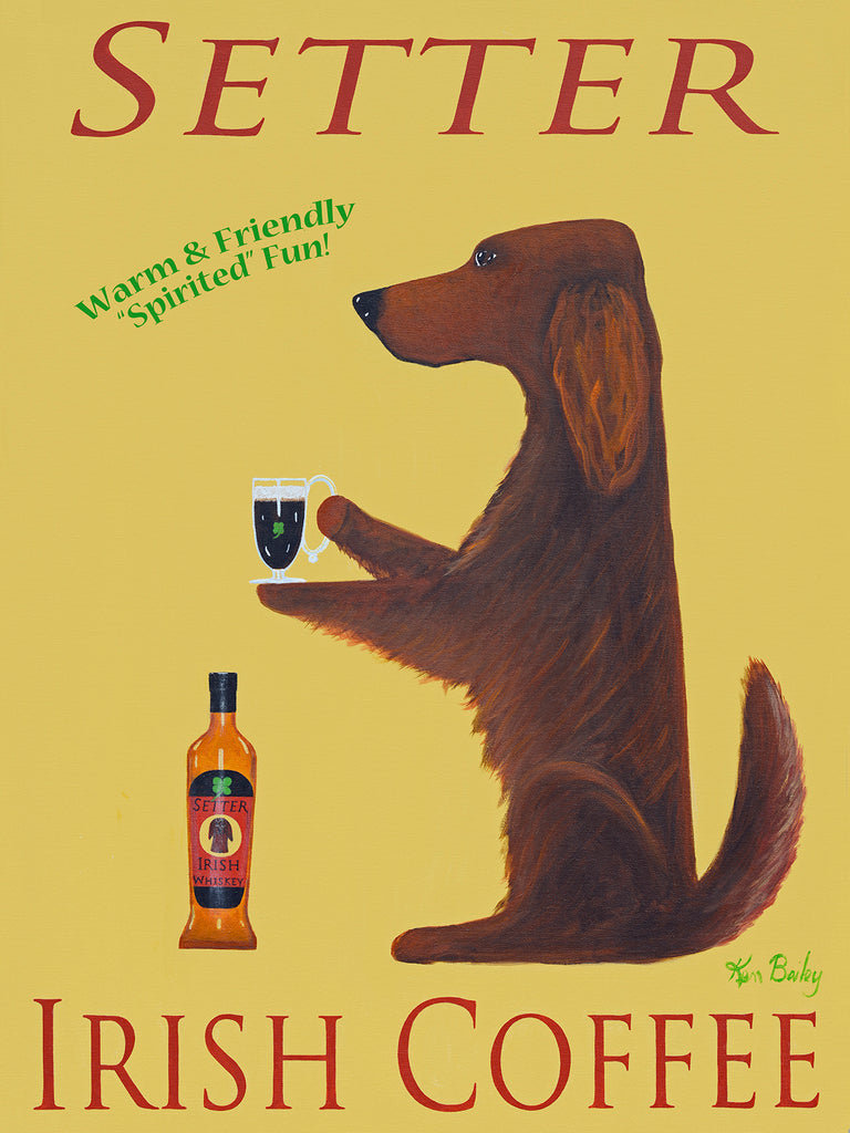 SETTER IRISH COFFEE - Retro Vintage Advertising Art featuring an Irish Setter by Ken Bailey