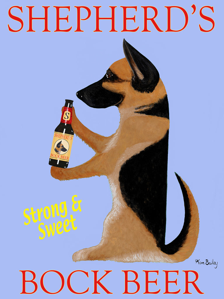 SHEPHERD'S BOCK BEER - Retro Vintage Advertising Art featuring a German Shepherd by Ken Bailey
