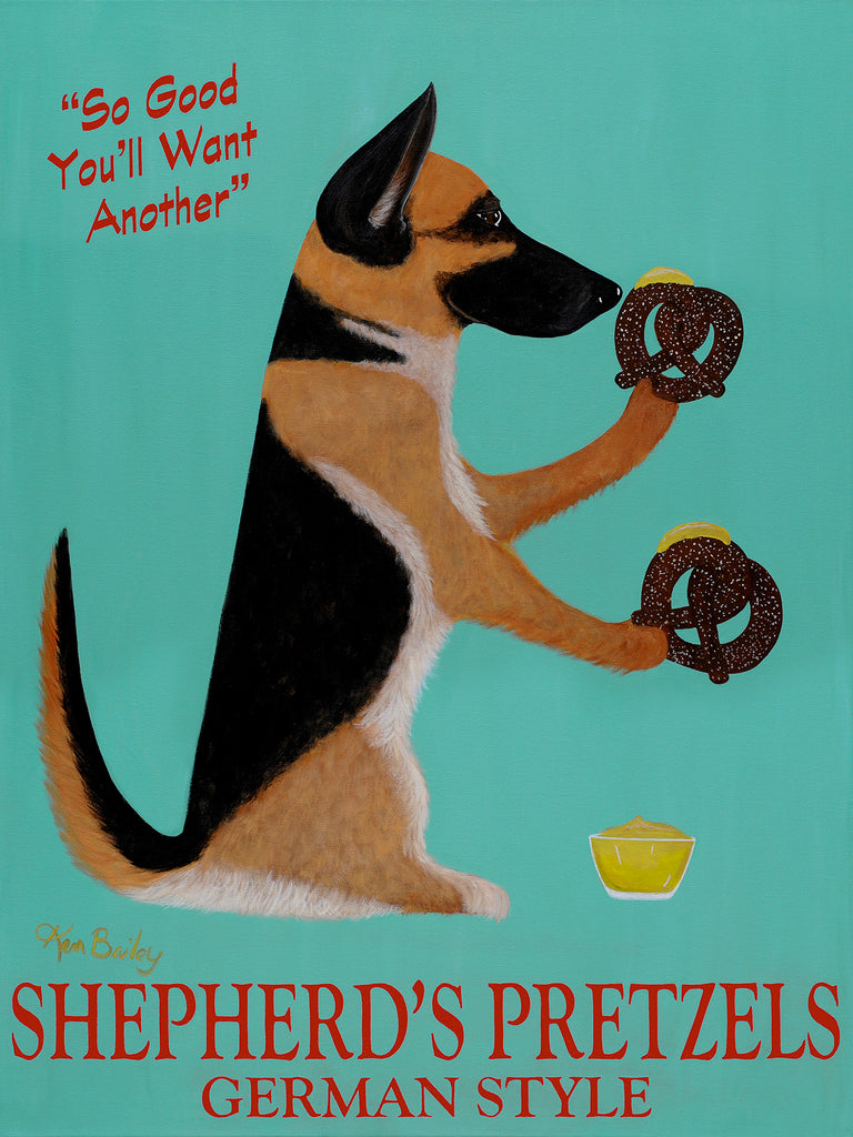 SHEPHERD'S PRETZELS - Retro Vintage Advertising Art featuring a German Shepherd by Ken Bailey
