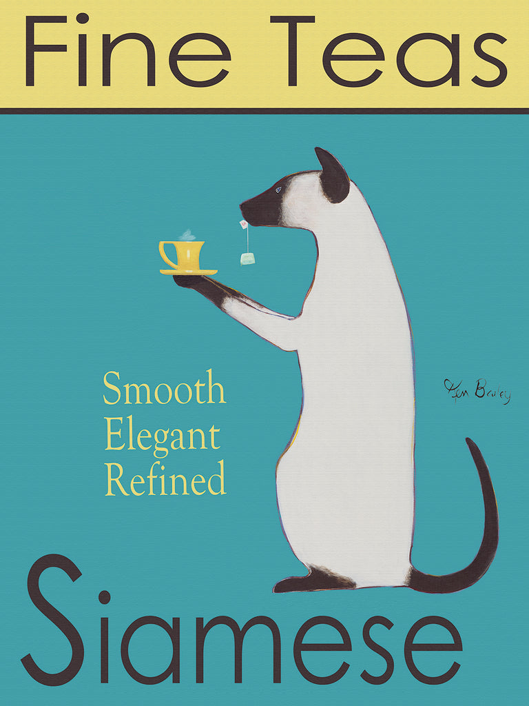 SIAMESE FINE TEAS - Retro Vintage Advertising Art featuring a Siamese cat by Ken Bailey