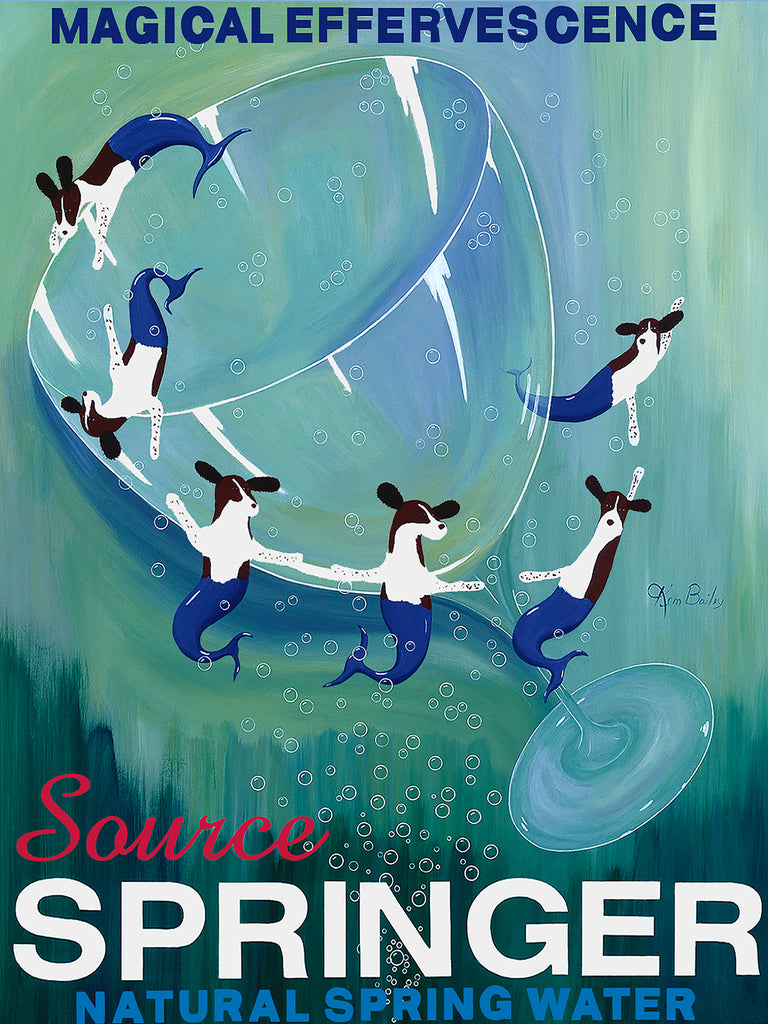 SOURCE SPRINGER - Retro Vintage Advertising Art featuring a Springer Spaniel by Ken Bailey