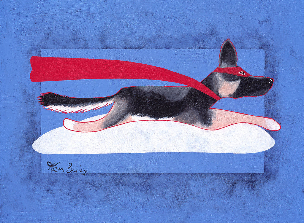 SUPER SHEPHERD -  Whimsical art with a German Shepherd flying wearing a cape by Ken Bailey