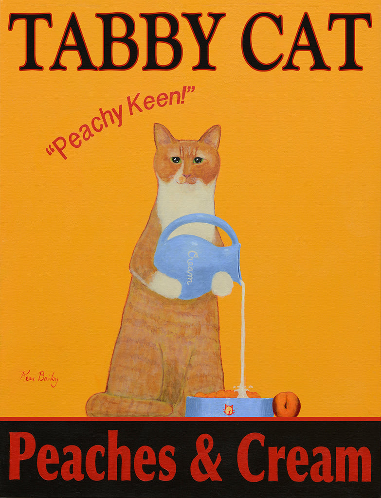 TABBY CAT PEACHES AND CREAM - Retro Vintage Advertising Art featuring a tabby cat by Ken Bailey