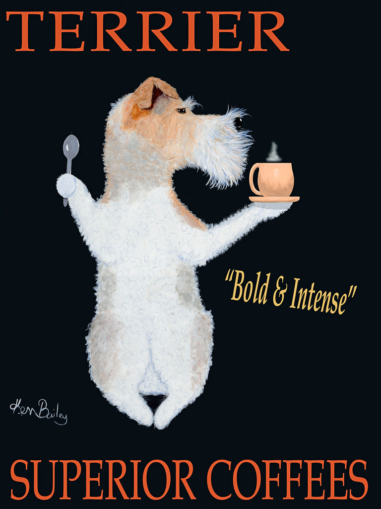TERRIER SUPERIOR COFFEES - Retro Vintage Advertising Art featuring a Fox Terrier by Ken Bailey