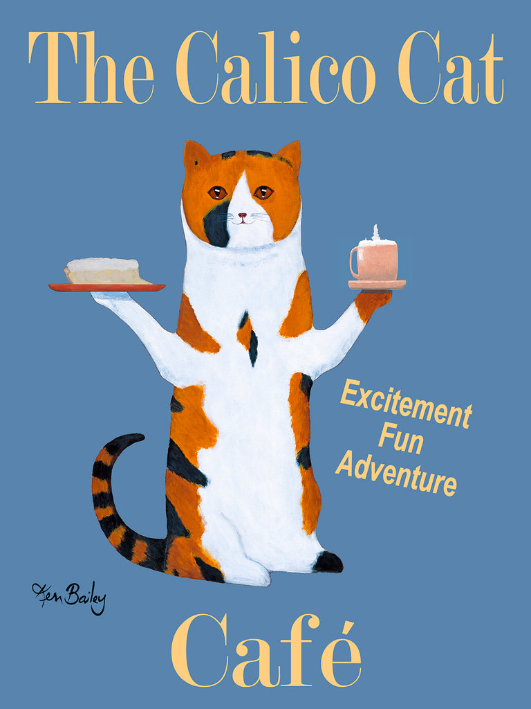 CUSTOM - THE CALICO CAT CAFE - - Retro Vintage Advertising Art featuring a Calico Cat with wine by Ken Bailey