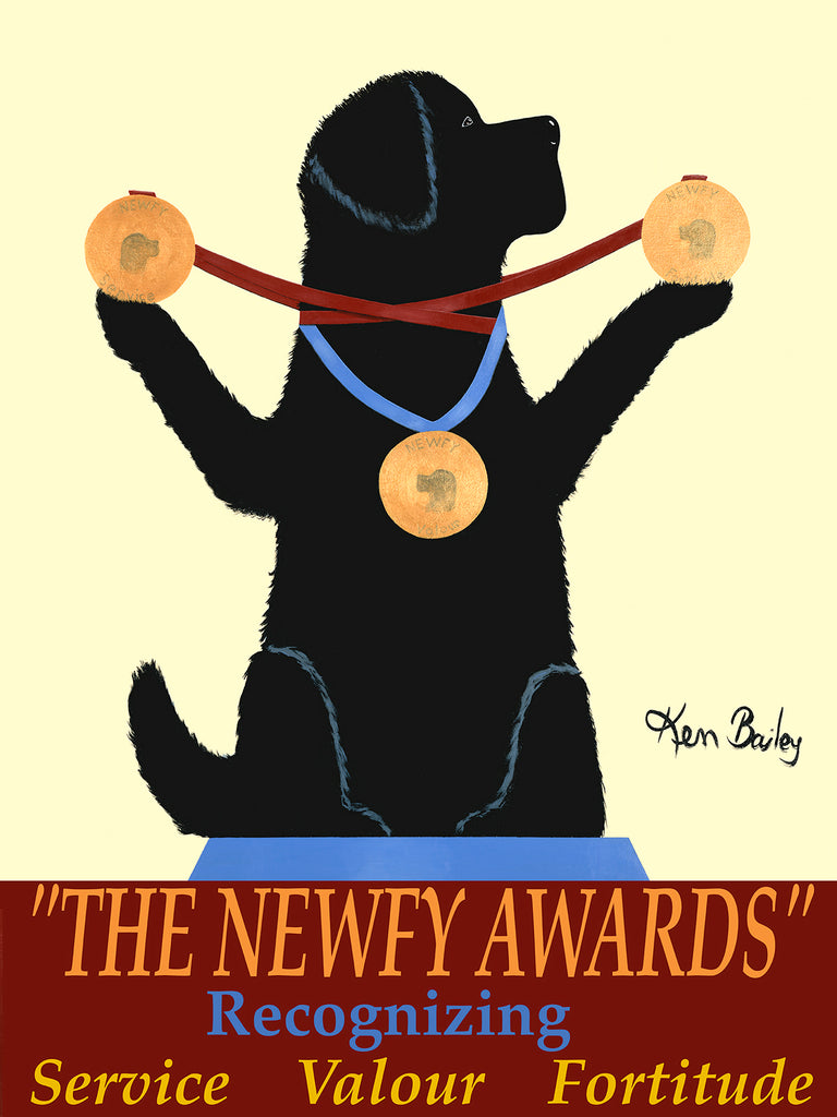THE NEWFY AWARDS - Retro Vintage Advertising Art featuring a Newfoundland by Ken Bailey