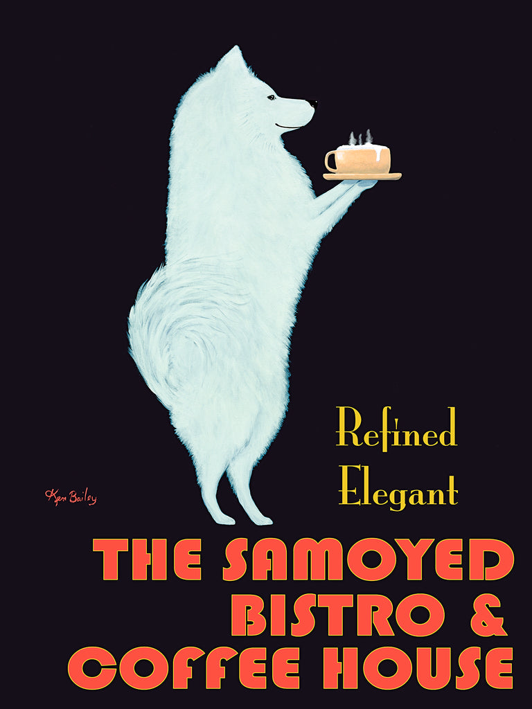 THE SAMOYED BISTRO - Retro Vintage Advertising Art featuring a Samoyed by Ken Bailey