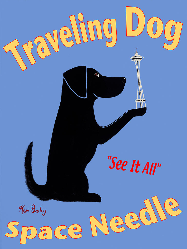 TRAVELING DOG - SPACE NEEDLE - Retro Vintage Advertising Art featuring a black dog by Ken Bailey