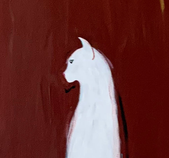 WHITE CAT WITH ROBIN - Original Painting