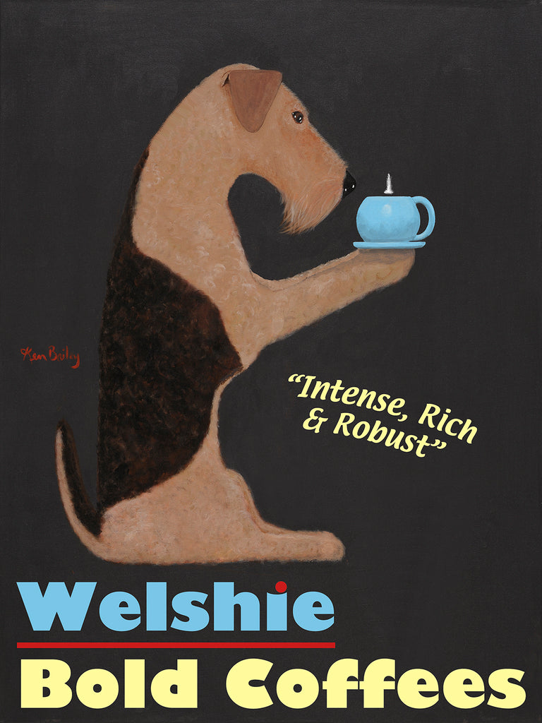 WELSHIE BOLD COFFEES - Retro Vintage Advertising Art featuring a Welsh Terrier by Ken Bailey