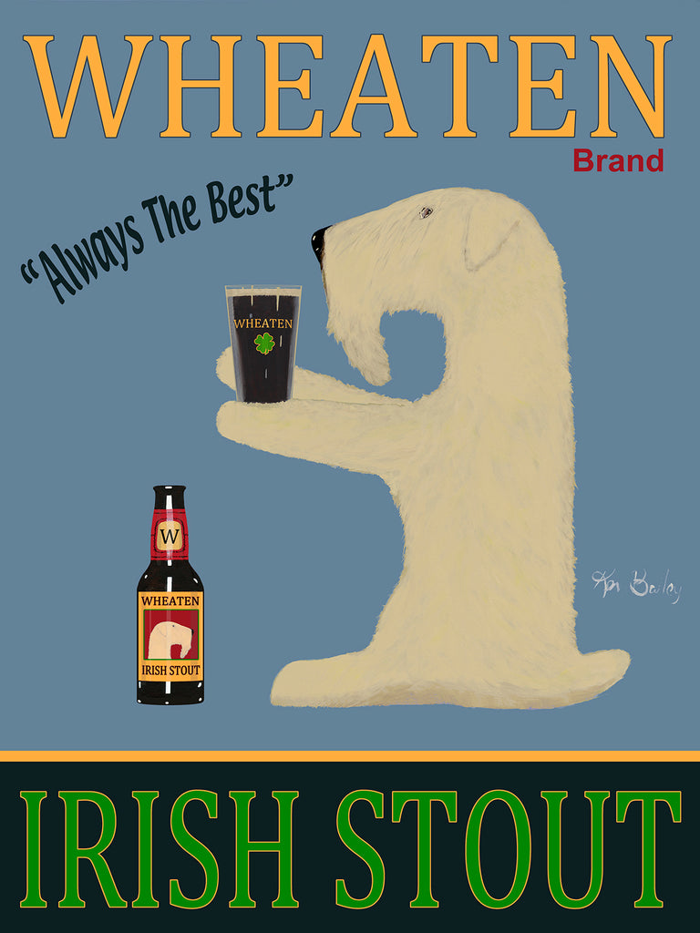 CUSTOM WHEATEN IRISH STOUT -- Retro Vintage Advertising Art featuring a Wheaten Irish Terrier by Ken Bailey