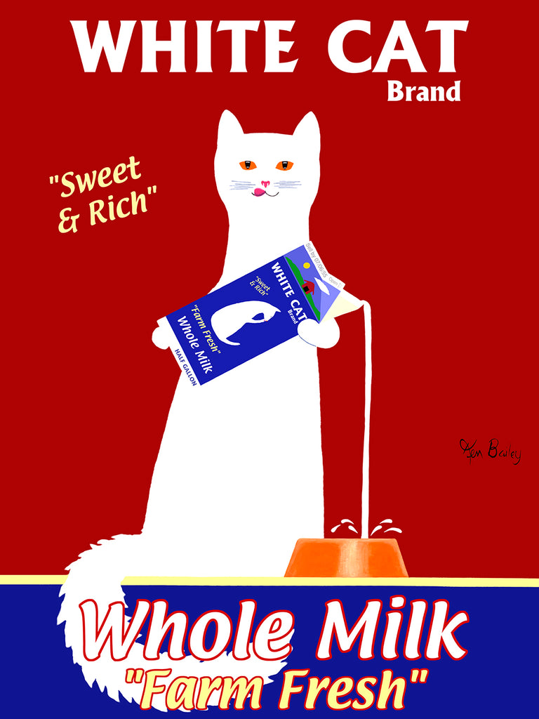 WHITE CAT MILK - Retro Vintage Advertising Art featuring a white cat by Ken Bailey