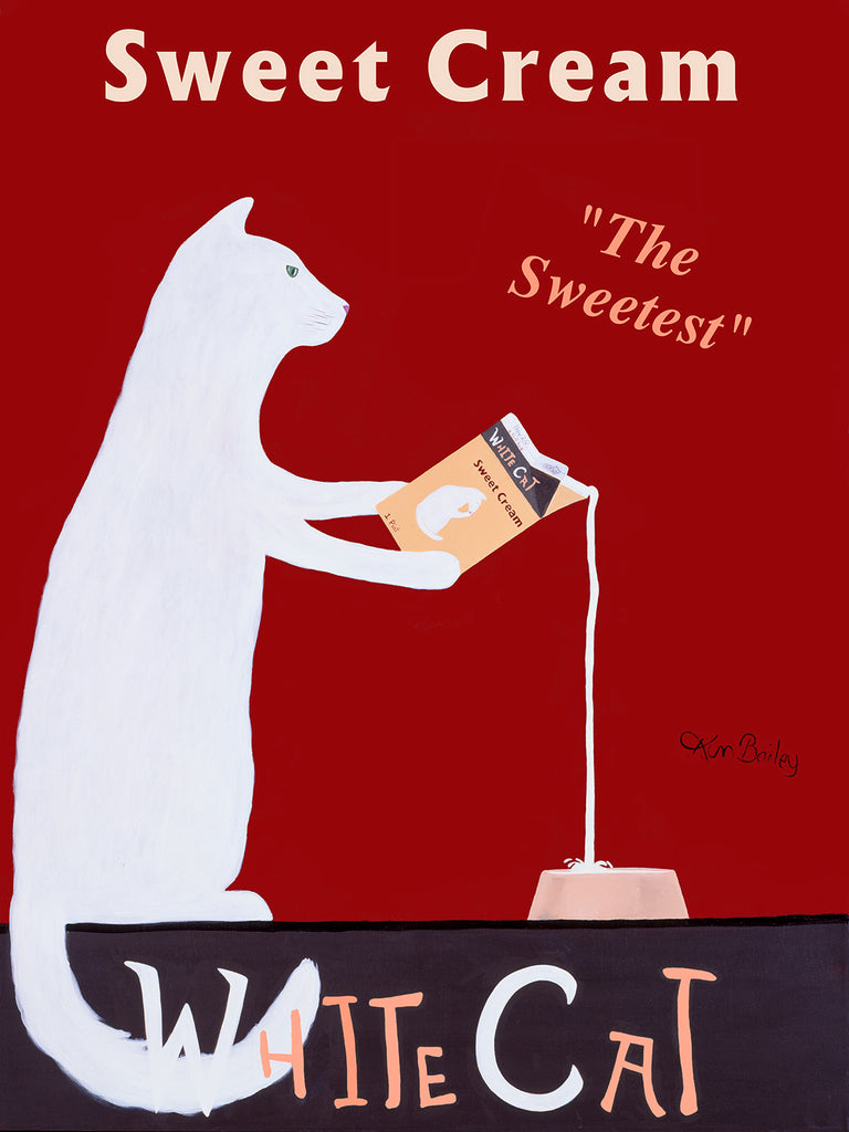 CUSTOM WHITE CAT SWEET CREAM -- Retro Vintage Advertising Art featuring a white cat by Ken Bailey
