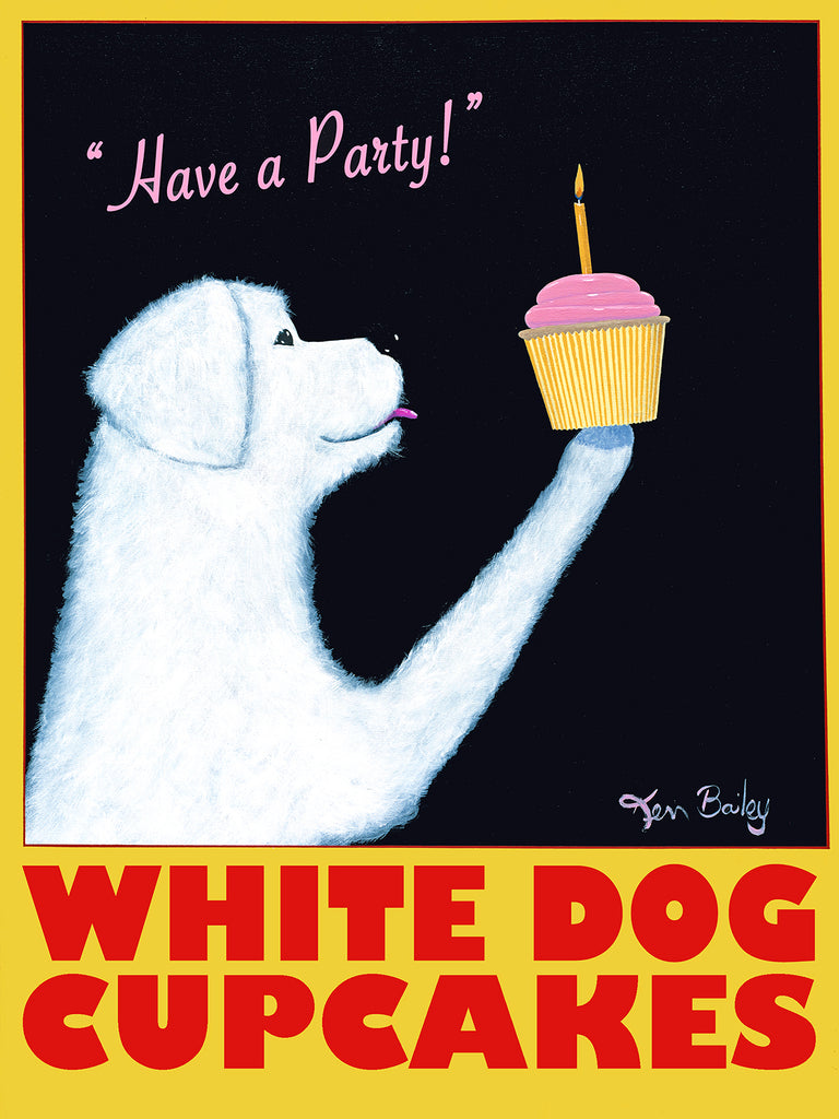 CUSTOM WHITE DOG CUPCAKES - Retro Vintage Advertising Art featuring a white dog by Ken Bailey