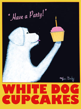 WHITE DOG CUPCAKES - Retro Vintage Advertising Art featuring a white dog by Ken Bailey