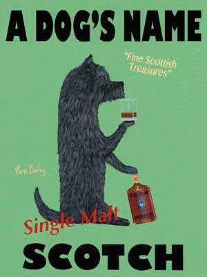 CUSTOM CAIRN SCOTCH - Retro Vintage Advertising Art featuring a Cairn Terrier by Ken Bailey