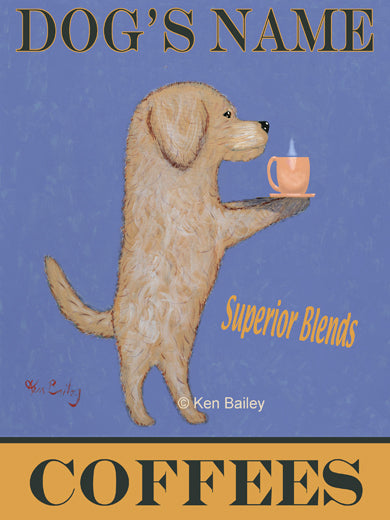 CUSTOM DOODLE COFFEES -- Retro Vintage Advertising Art featuring a Doodle by Ken Bailey