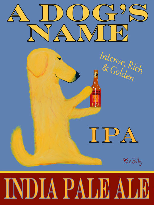 CUSTOM GOLDEN RETRIEVER IPA -- Retro Vintage Advertising Art featuring a Golden Retriever by Ken Bailey