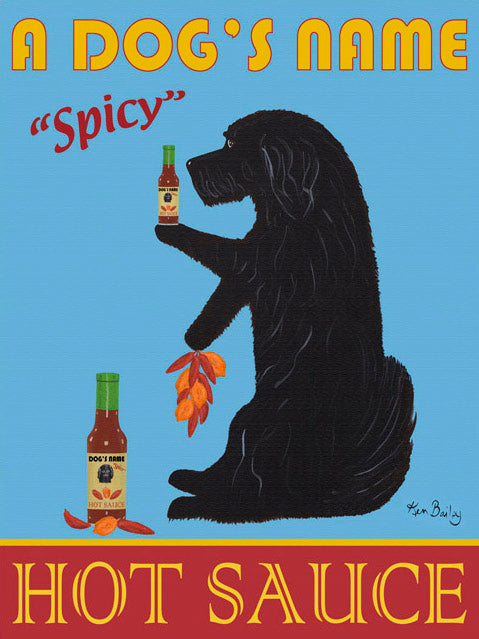 CUSTOM HAVANESE HOT SAUCE - Retro Vintage Advertising Art featuring a Havanese by Ken Bailey