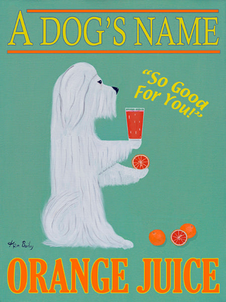 CUSTOM MALTESE ORANGE JUICE - Retro Vintage Advertising Art featuring a Maltese by Ken Bailey