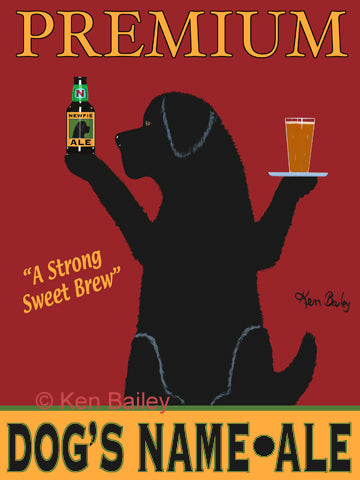 CUSTOM NEWFIE ALE -- Retro Vintage Advertising Art featuring a Newfoundland Retriever by Ken Bailey