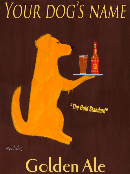 CUSTOM RETRIEVER GOLDEN ALE -- Retro Vintage Advertising Art featuring a Golden Retriever by Ken Bailey