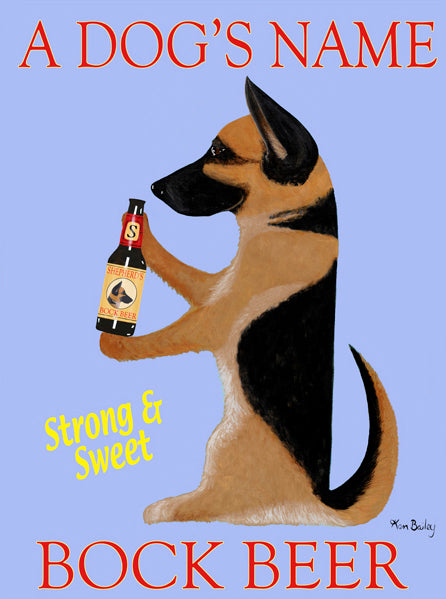 CUSTOM SHEPHERD'S BOCK BEER - Retro Vintage Advertising Art featuring a German Shepherd by Ken Bailey