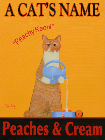 CUSTOM TABBY CAT - PEACHES AND CREAM -- Retro Vintage Advertising Art featuring a Tabby Cat with wine by Ken Bailey