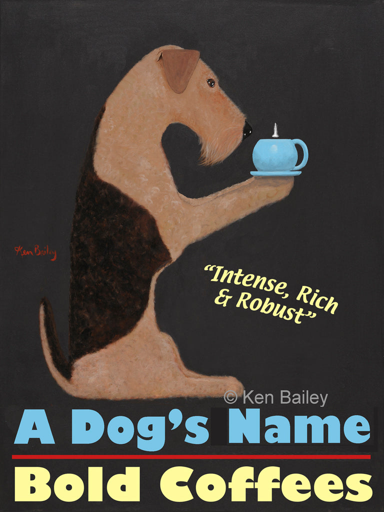 CUSTOM WELSHIE BOLD COFFEES -- Retro Vintage Advertising Art featuring a Welsh Terrier by Ken Bailey