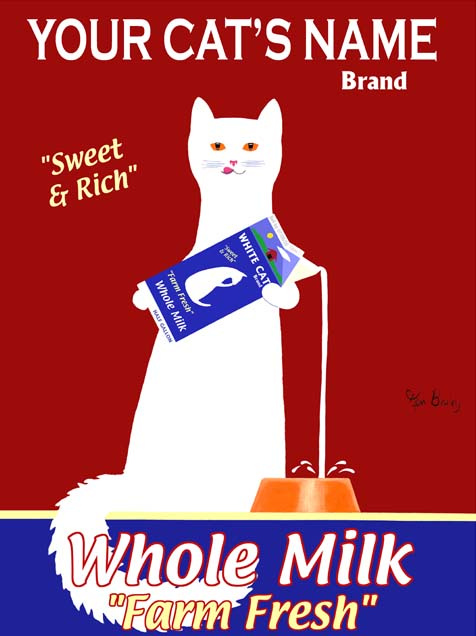 CUSTOM WHITE CAT MILK -- Retro Vintage Advertising Art featuring a white cat by Ken Bailey