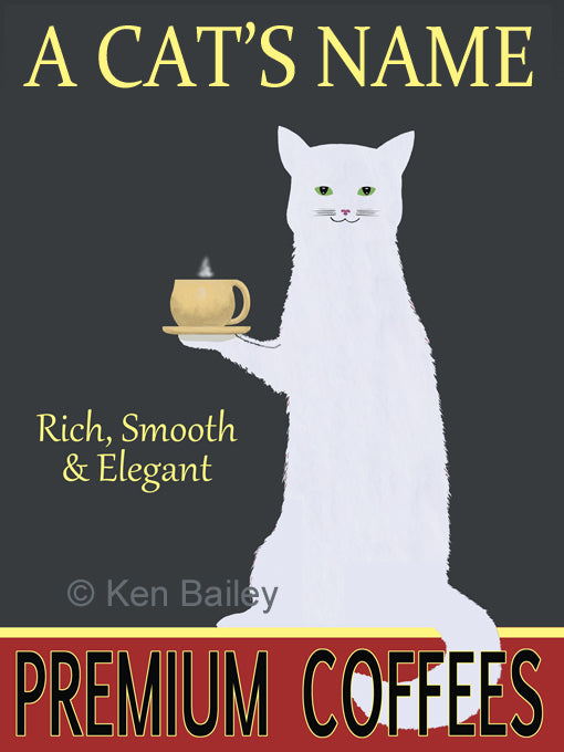 CUSTOM WHITE CAT PREMIUM COFFEES -- Retro Vintage Advertising Art featuring a White Cat by Ken Bailey