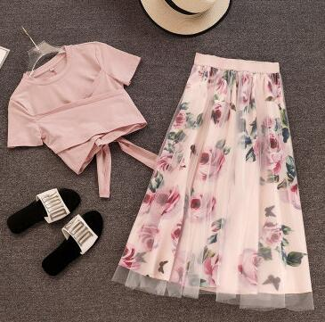 Summer Stylish Oceanic Skirt Two-Piece Set