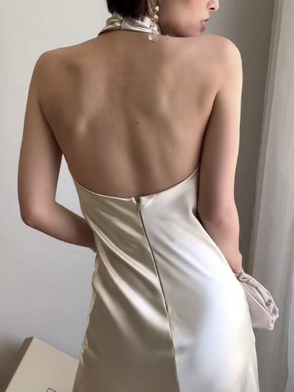 Satin halter sleeveless bodycon vintage dress Women backless split long dress