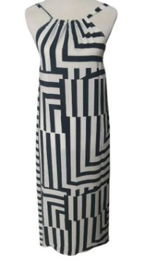 Black and White Print Loose Dress Spring Summer Women