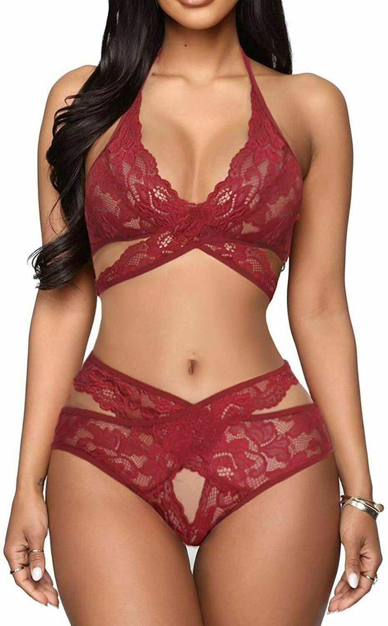 Women Sexy Lingerie Set Two Piece Lace Bra and Panty Set Babydoll Sleepwear US