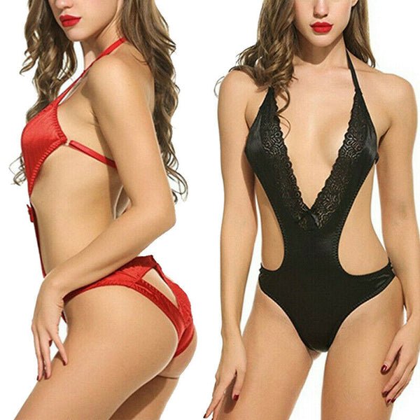 Sexy Bodysuit Lingerie for Women One Piece Babydoll Teddy V Neck Sleepwear US