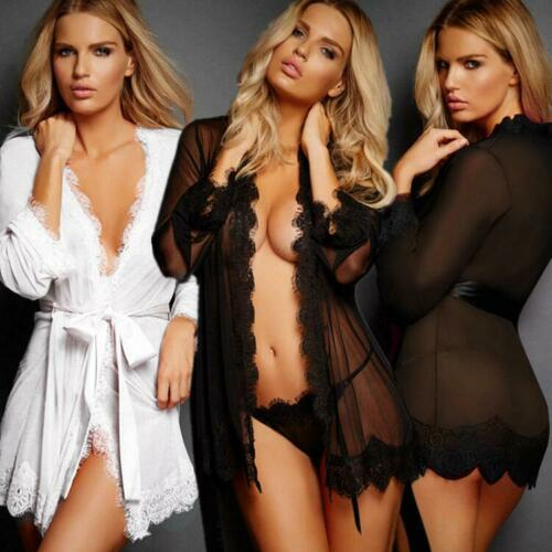 Sexy Lingerie Women Lace Sheer Robe Nightdress G-string Set Underwear Sleepwear