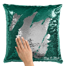 Emerald Green/Silver Reversible Sequin Pillow_Blingz & Blanks Wholesale