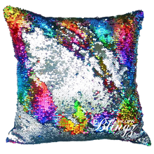 Rainbow/Silver Reversible Sequin Pillow_Blingz & Blanks Wholesale