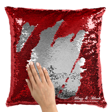 Red/Silver Reversible Sequin Pillow_Blingz & Blanks Wholesale