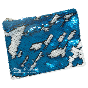 Turquoise/White Sequin Makeup Bag_Blingz & Blanks Wholesale
