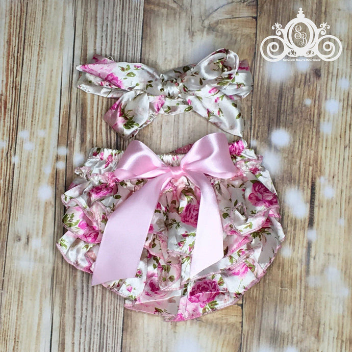 Pink Floral Ruffle Bloomer Set